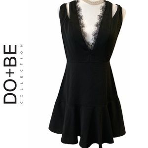 DO + BE Plunging V-Neck Lace Detail Peplum Dress